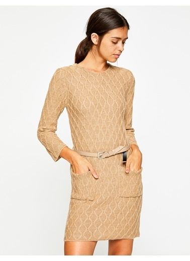 Koton Uzun Kollu Triko Elbise Bej
